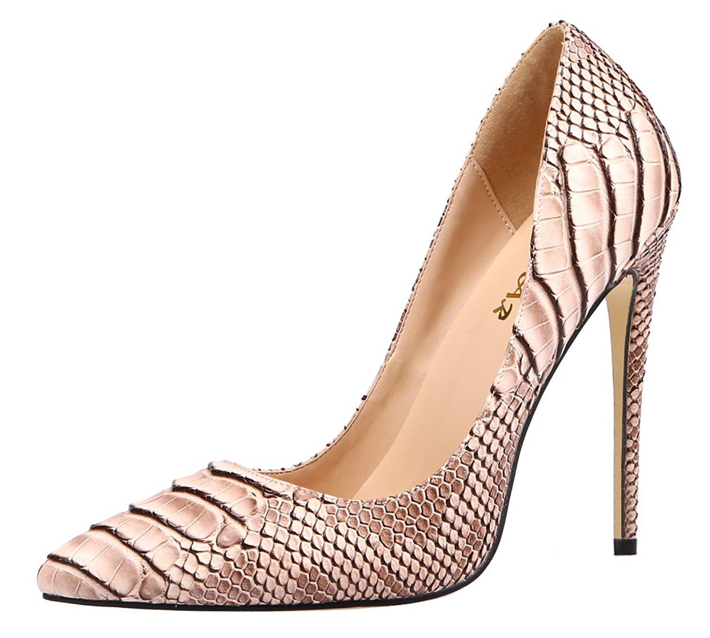 7e9055a64d50 Get Quotations · AOOAR Women s Snakeskin-Print High Heel Dress Pumps Shoes