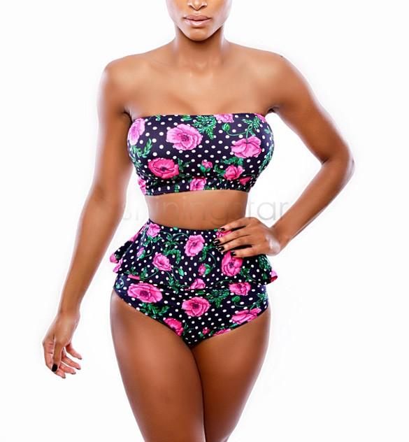 382c30ac1f Brand Bikini Set Swimsuit Swimwear Women Sexy New Vintage High Waist Bikini  Floral Print Swimsuit Roupa