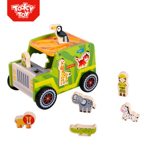 Safari Animal Wooden Puzzle Crane Mini DIY Assembly Crazy Custom Car Toys For Kids