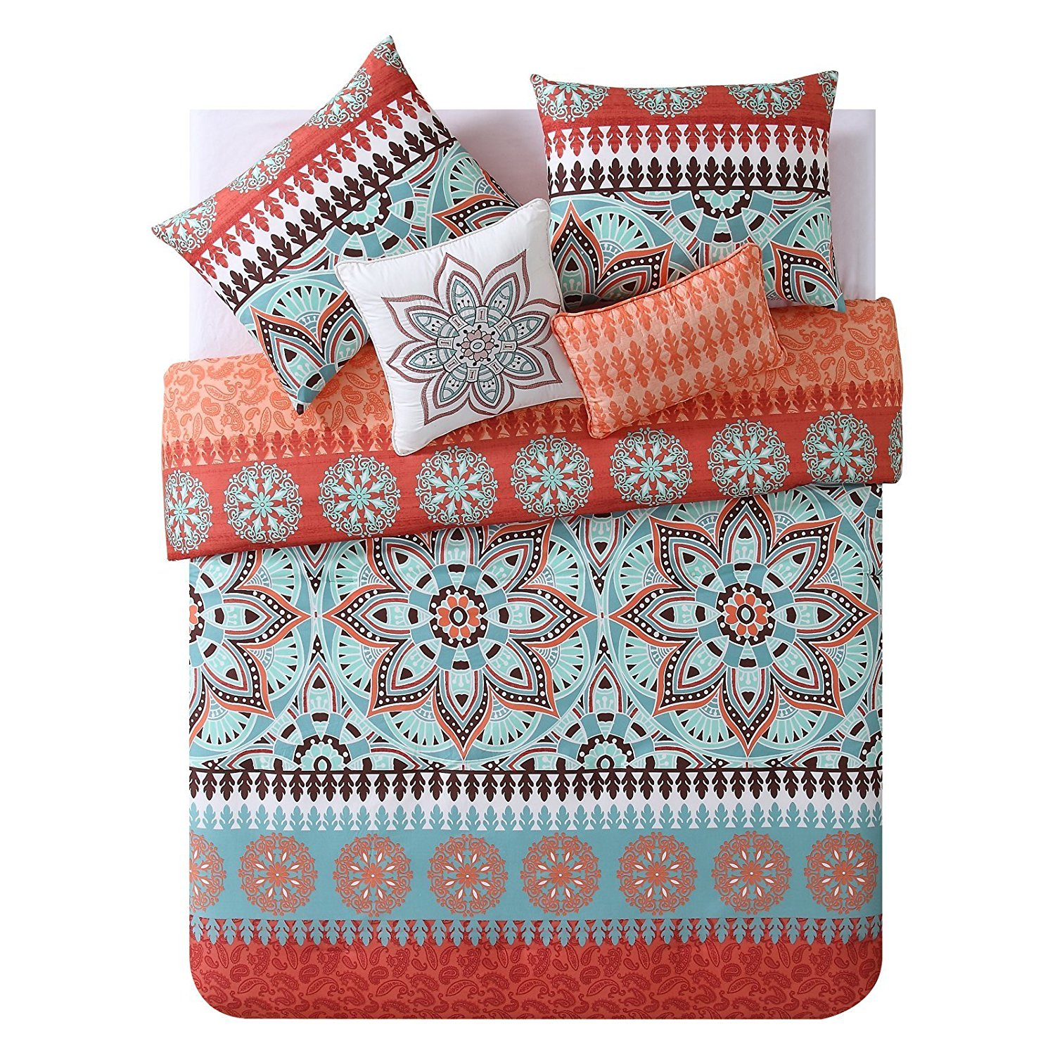 4 Piece Multi Color Geometric Medallion Comforter Twin Twin Xl, Aqua Orange Brown Floral Paisley Motif Teen Themed Kids Bedding For Bedroom Reversible Light Orange Geometric Colorful, Microfiber