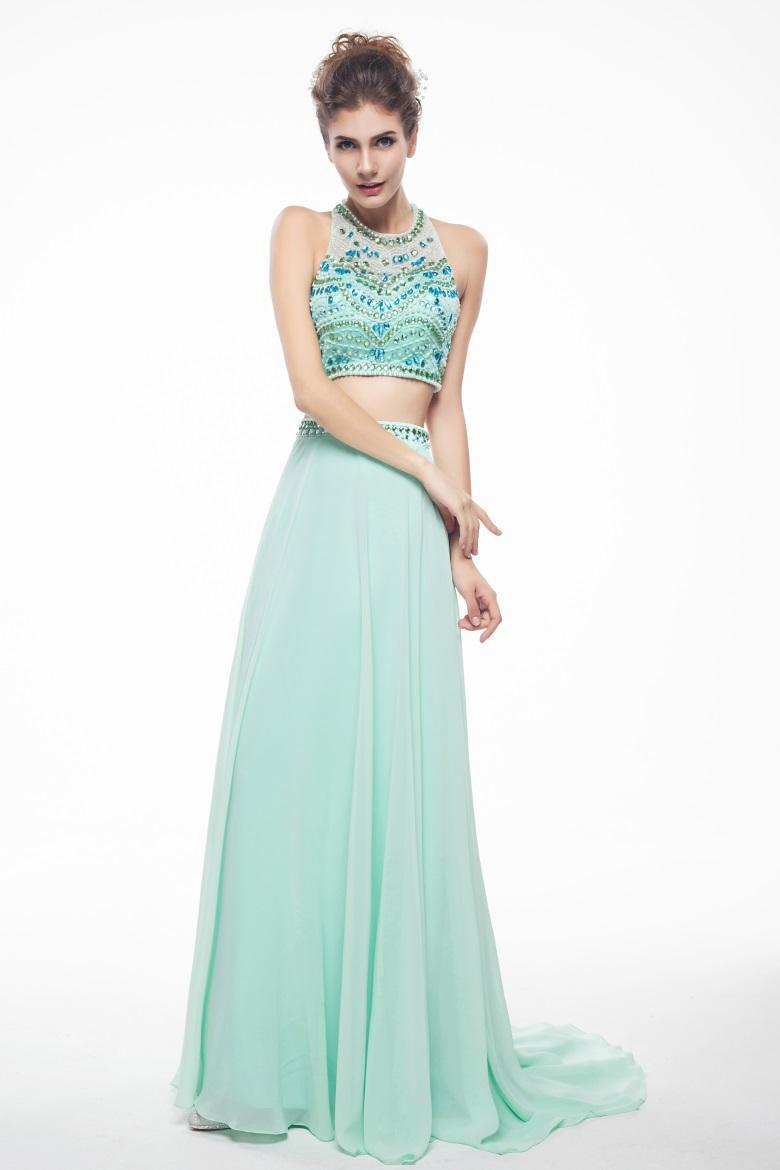 Two Pieces Long Prom Dresses 2015 Dresses with Sheer Neck Backless Party Dress Sexy Beading Crystals Mint Evening Gown S1546