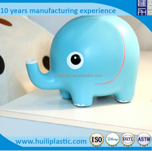 blue elephant coin bank, lovly elephant shape money box, animal plastic money box
