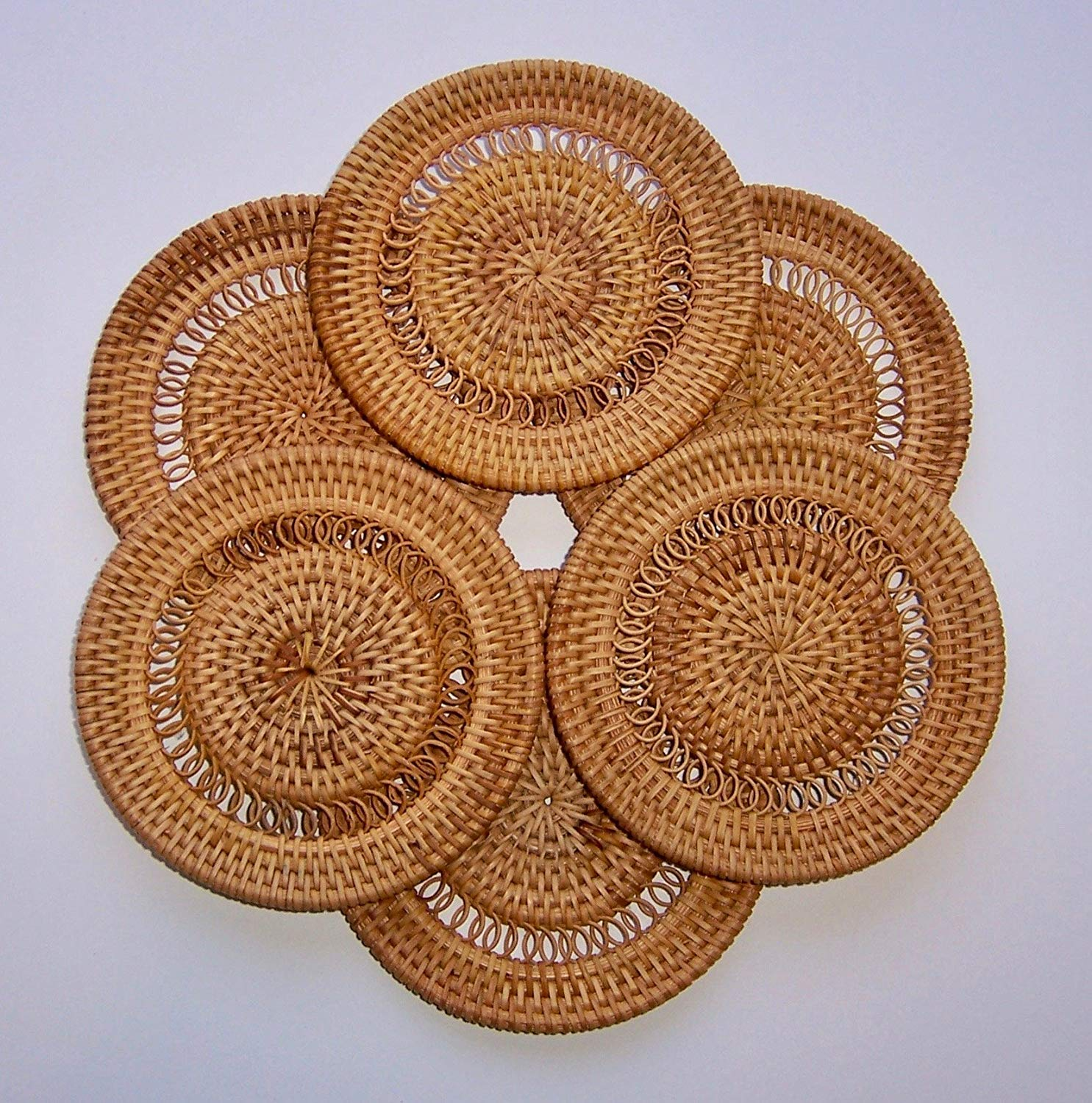 Set of 6 Hand Woven Bamboo Coasters. These Handcrafted Reversible Tea Coasters Feature Rattan Bamboo. Unique Decorative Organic Table Coasters Set for Beverages – Round Bamboo Coasters
