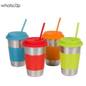 whatscup Stainless Steel Cups with Silicone Lids Sleeves and Straws 16 oz Stainless Steel Tumblers by Steelware