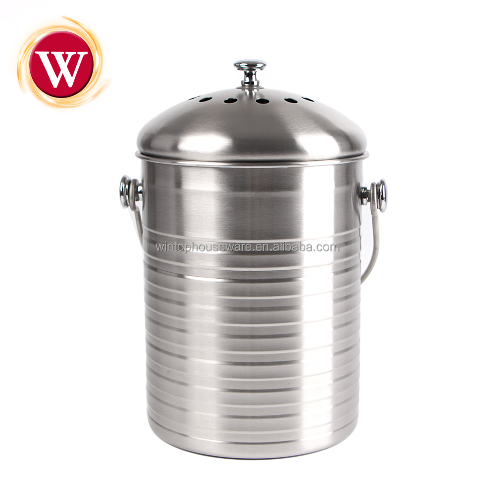 Hot Indoor Mini Compost Pail High Quality Kitchen 304 Stainless Steel Bin With Filter