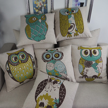 Throw plain pattern pillow case personalized custom digital owl printed cushion