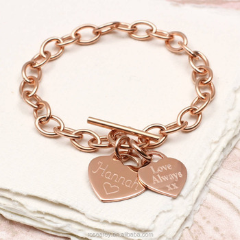 09def019a Personalised 18K Gold Plated Stainless Steel Rose Gold Heart Coin Disc  Initial Engraved T Bar Clasp