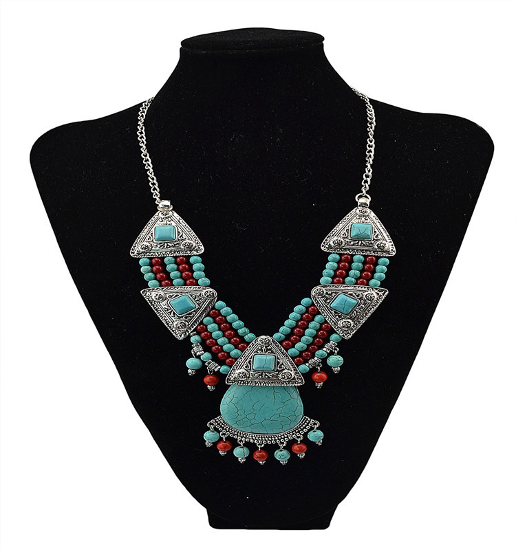 2017 Wholesale Trendy Turquoise Choker Collar Statement Necklace