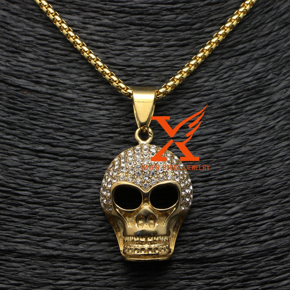 Stainless Steel Iced Out Micro Pave cz Gold Plated Skull Pendant