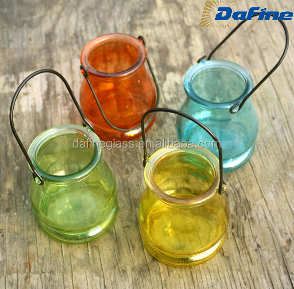 High quality color painted decorated candle glass bottles/glass candle jars wholesale