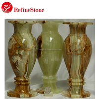 polished Light green onyx marble flower vase
