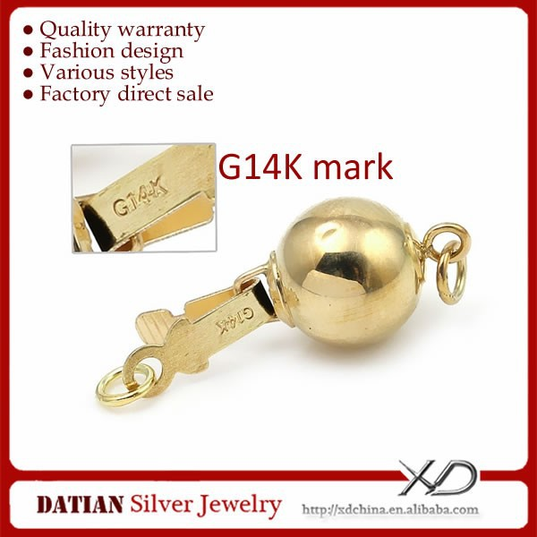 XD K032 Gold Jewelry Findings 14K Gold Clasp 7mm from China