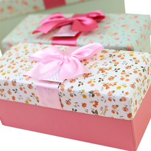 beautiful rectangle paper gift box packaging for birthday with ribbon