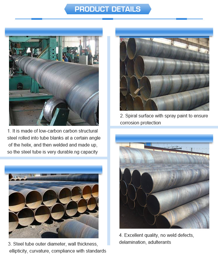SSAW Spiral welded carbon erw steel  pipe and tube  for oil pipeline construction