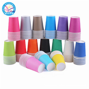2019 Eco-friendly paper tableware sets colorful drinking cup kids birthday party favors disposable paper cup