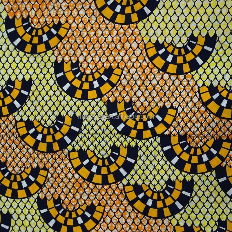 Digital silk 100% cotton african real wax prints fabric 6 yards for clothes V290