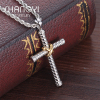 Factory direct wholesale custom titanium tungsten steel women men cross pendant necklace