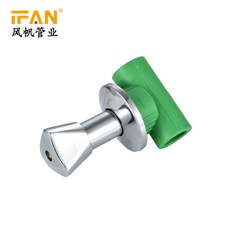 Wholesale 20mm 25mm 32mm Conceld Chrome Plated Gate Valve Green Color Conceld Valve 1/2inch PPR Concealed Stop Valve