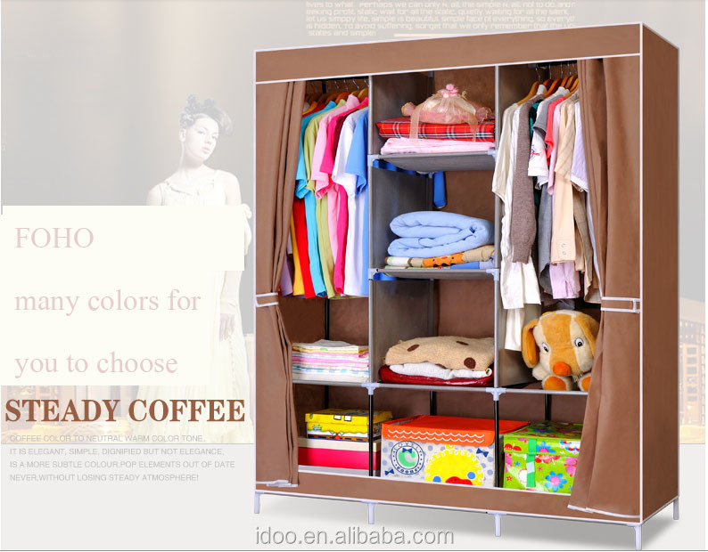 Large Capacity Canvas Wardrobe Design Cheap Folding Bedroom Canvas Wardrobe Design