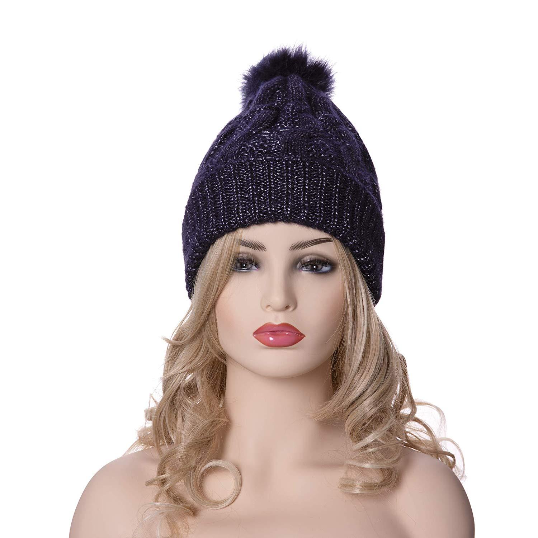 58192677ec54f Get Quotations · LINEMIN Women s Winter Super Soft Warm Knitted Headwear Beanie  Hat Faux Fur Pom Pom