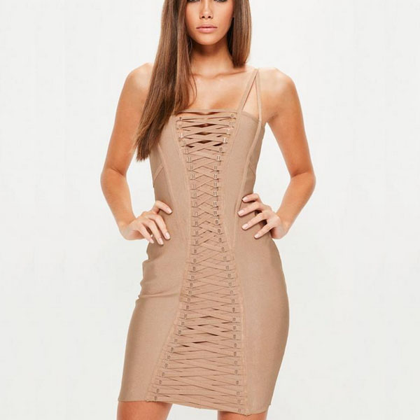 Women's Clothing Dependable New Fashion Sexy Womens Sleeveless Bandage Pu Dress Bodycon Evening Party Hollow Out Mesh Translucent V Neck Mini Dress Sturdy Construction