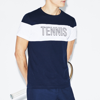Men's custom crew neck colorblock sport gym tennis tee shirt men cotton blended jersey