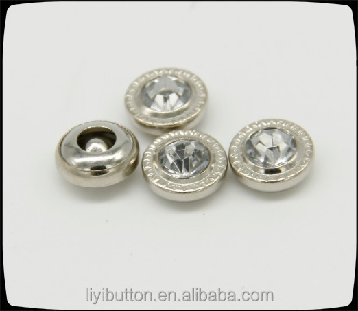 hot sale custom rhinestone rivet button for women's clothing, nickel acrylic stone with rivet for garment
