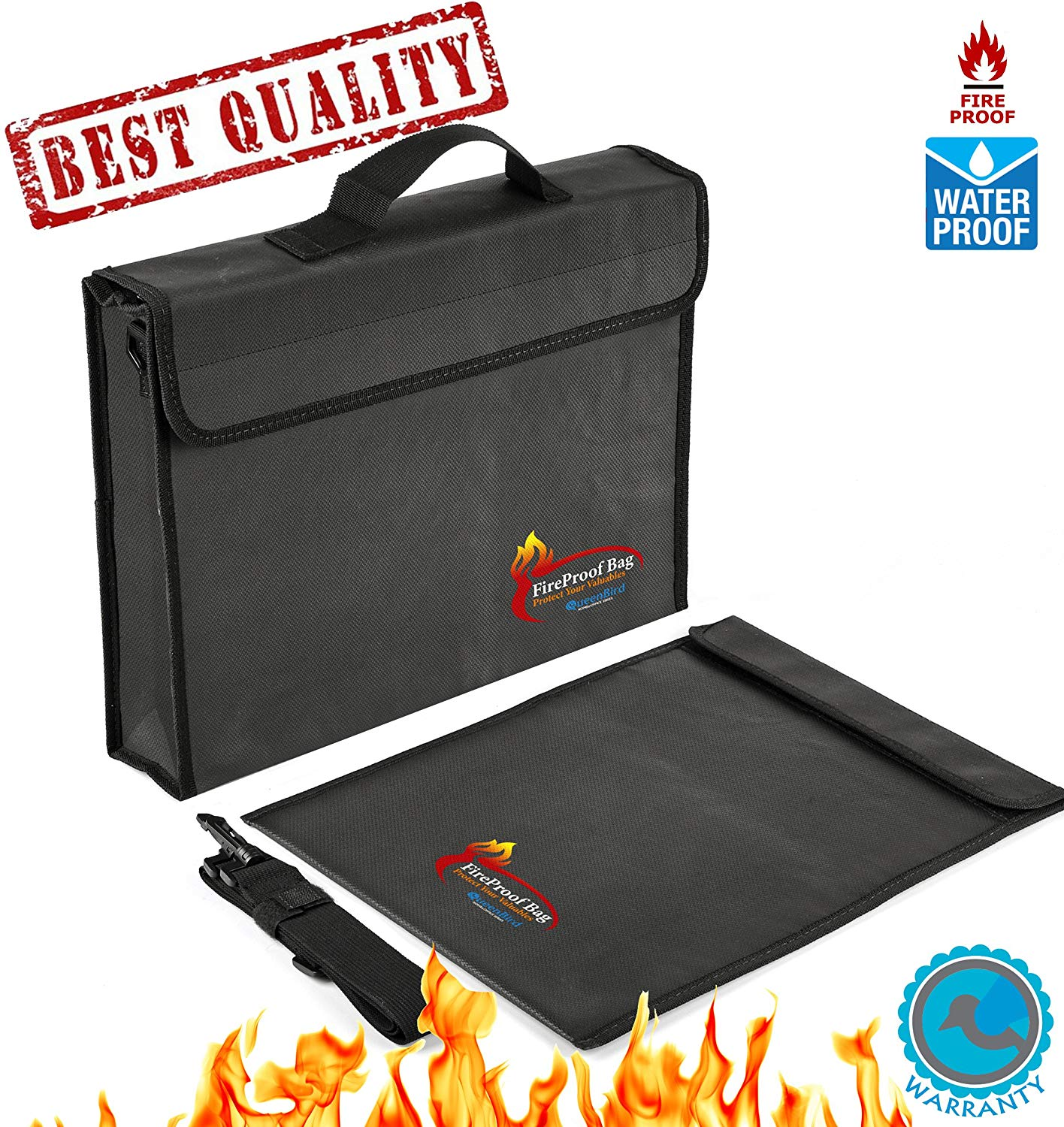 "2 PCS Fireproof Bags for Docs&Valuables by QueenBird | Fire&Water Resistant Bag Set | 2 Different Sizes (15""x11""x2.5""+15""x11"" flat) 