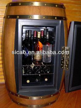Oak Wood Wine Barrel Cabinet Fridge Innovative Furniture Barrel Fridge LED  Display OEM Brand