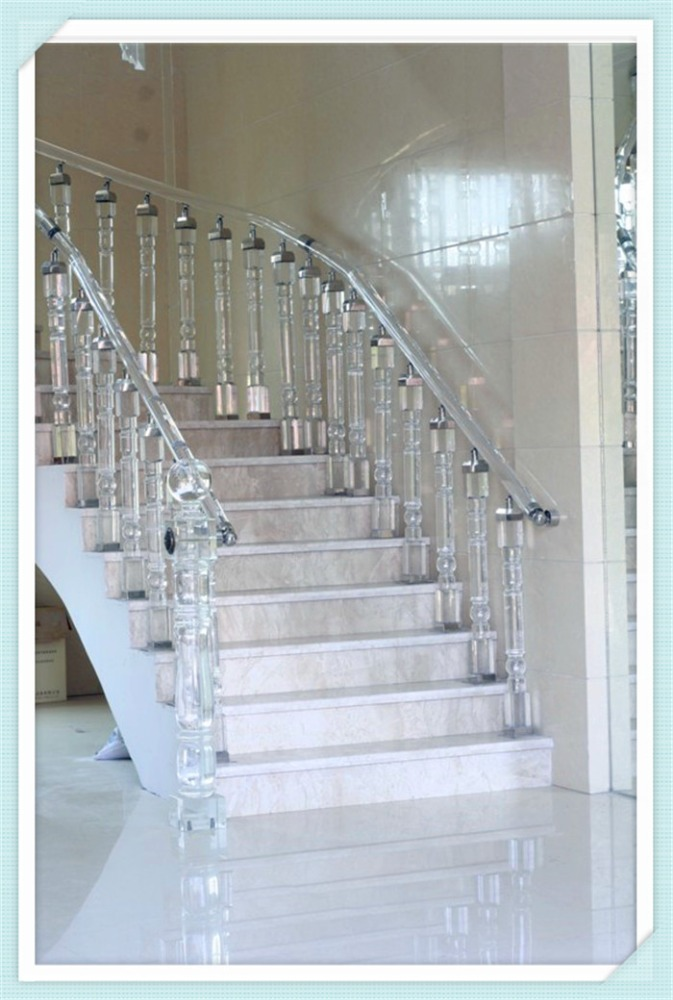 Quick response on inquiry crystal stair handrail stair glass railing