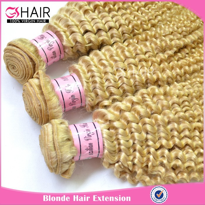 Natural color brazilian afro blonde kinky curly hair weave