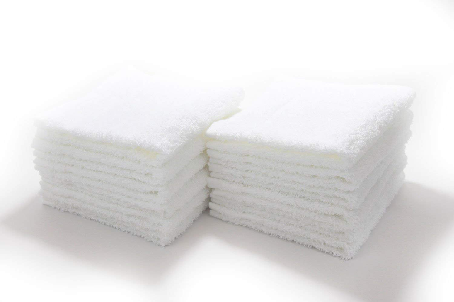 """White 12"""" x 12"""" Terry Face & Wash Cloth Towels - 12 Pack"""