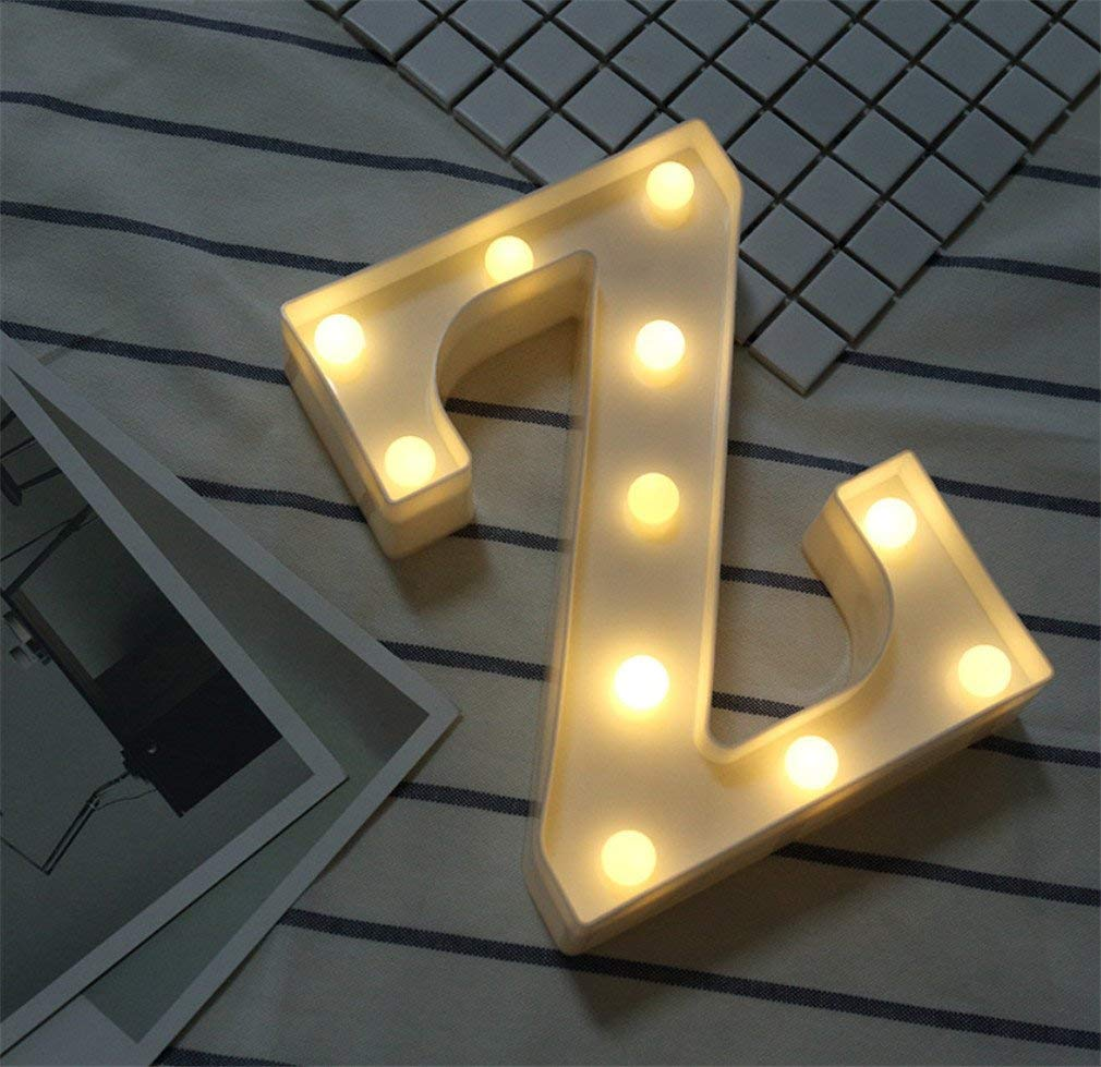 LUCKY CLOVER-A Alphabet Light Letter Lights LED Light Up White Plastic Letters Standing Hanging A-Z & 0-9 Shape Marquee Decoration Light Battery Operated Mood Light,Z