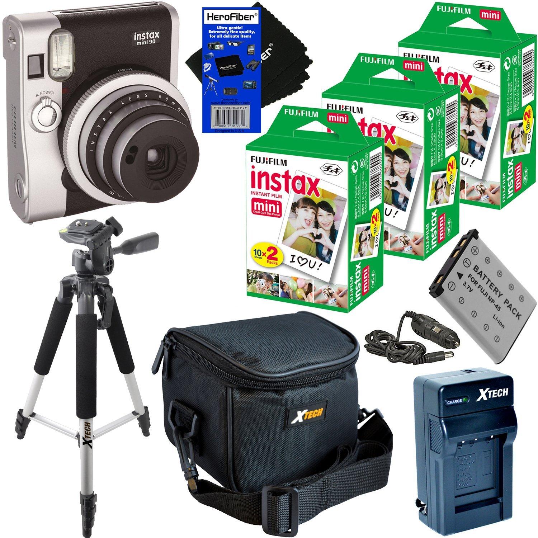 "Fujifilm Instax Mini 90 Neo Classic Instant Film Camera (Black) + Instax Mini Instant Film (60 sheets) + Full Sized 57"" Tripod w/ Case + NP-45A Battery & AC/DC Charger + Xtech Camera Case + HeroFiber"