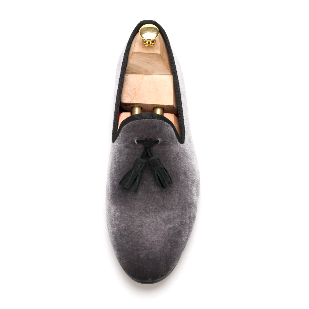 Shoes with Grey Tassels Velvet Slippers vwfTSZx