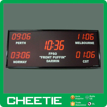 Multiple Wall Digital Office 5 Time Zone Led World Clock