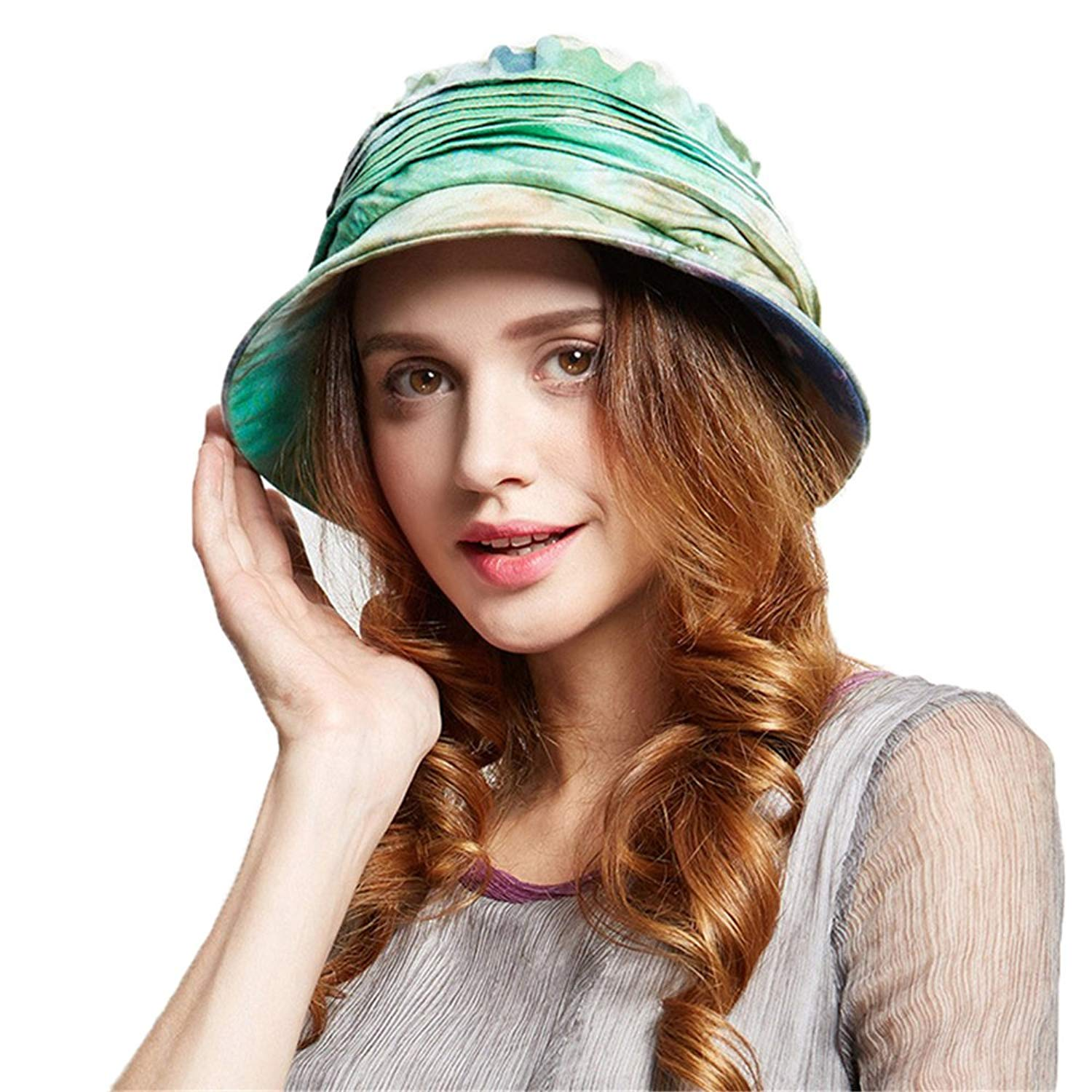 0034ab8a39a Get Quotations · doublebulls hats Cloche Hats Ladies Girls Cotton Foldable  Spring Summer Bucket Sun Hat