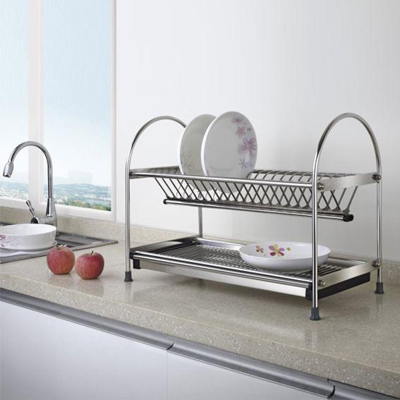 Free Standing Dual-tier Metal Dish Rack with Draining PlateKitchen hardware & China Dish Metal Rack Wholesale ?? - Alibaba