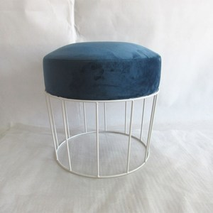 Modern ottoman popular indian stylish customized fabric stool with iron leg