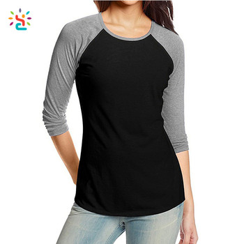 f14ec4bc7 Custom womens 3/4 length sleeve t-shirt blank Scoop Neck Tee cottonplain  raglan