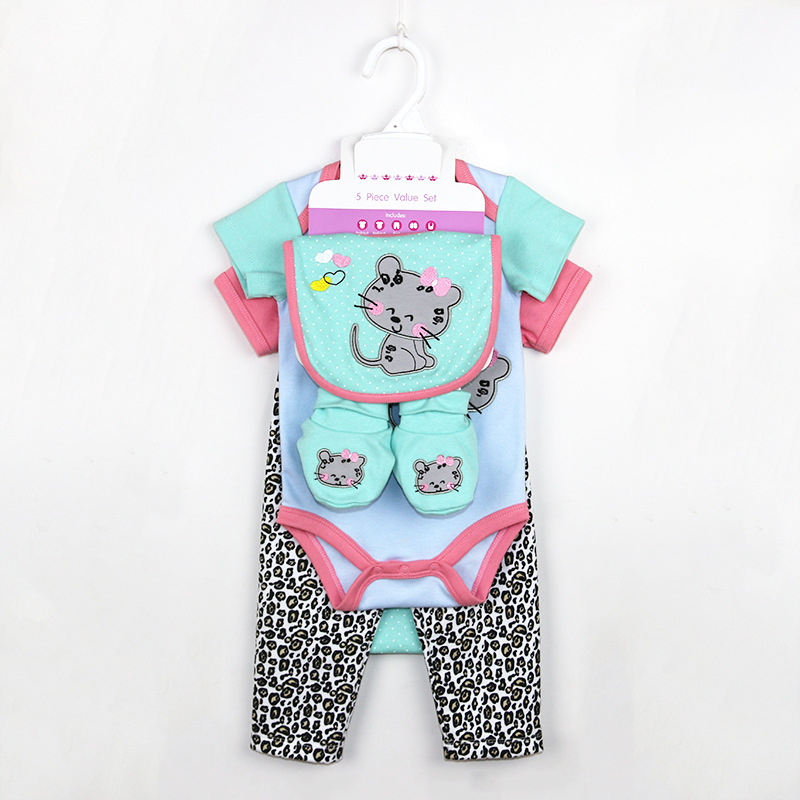Latest Style Newborn Fashion Baby Clothes Short Sleeves Baby Cotton Romper Set
