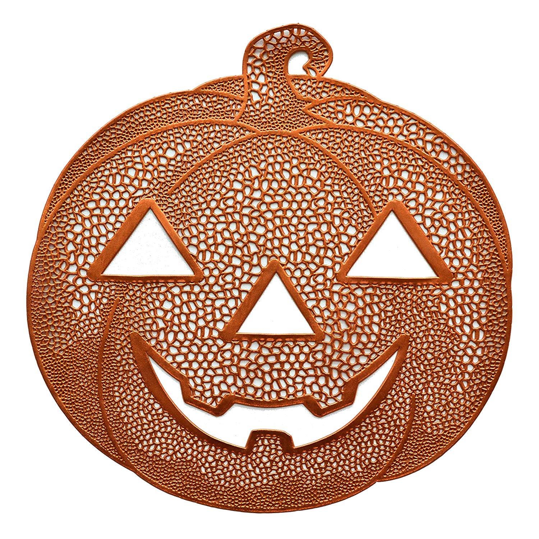 "Benson Mills Pressed Vinyl Placemats for Halloween/Fall (Orange/Pumpkin Jack O Lantern, 14"" X 15"" Set of 4)"