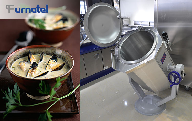 60L Hotel Commercial Catering Electric Soup Kettle Manual Tilting Boiling Pan