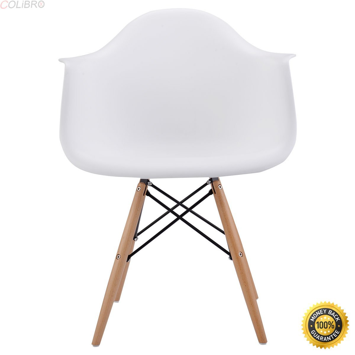 COLIBROX--1 PC Mid Century Modern Molded Plastic Dining Arm Side Chair Wood Legs White New,armchair cheap,Soft Modern Arm Chair,cheap living room chairs,living room chair,chairs for sale cheap