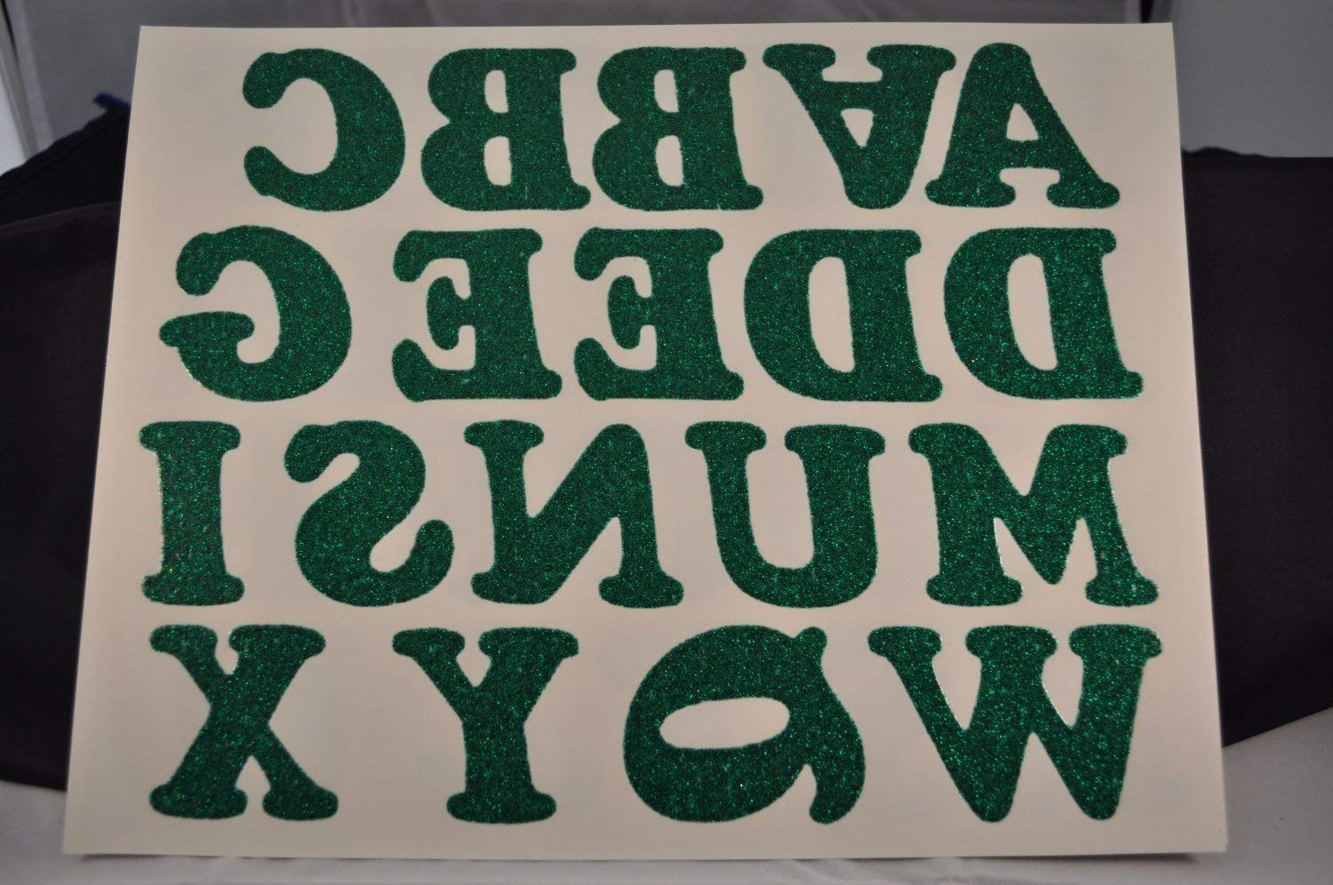 Get Quotations Diy 2 Inch Iron On Letters In Green Glitter