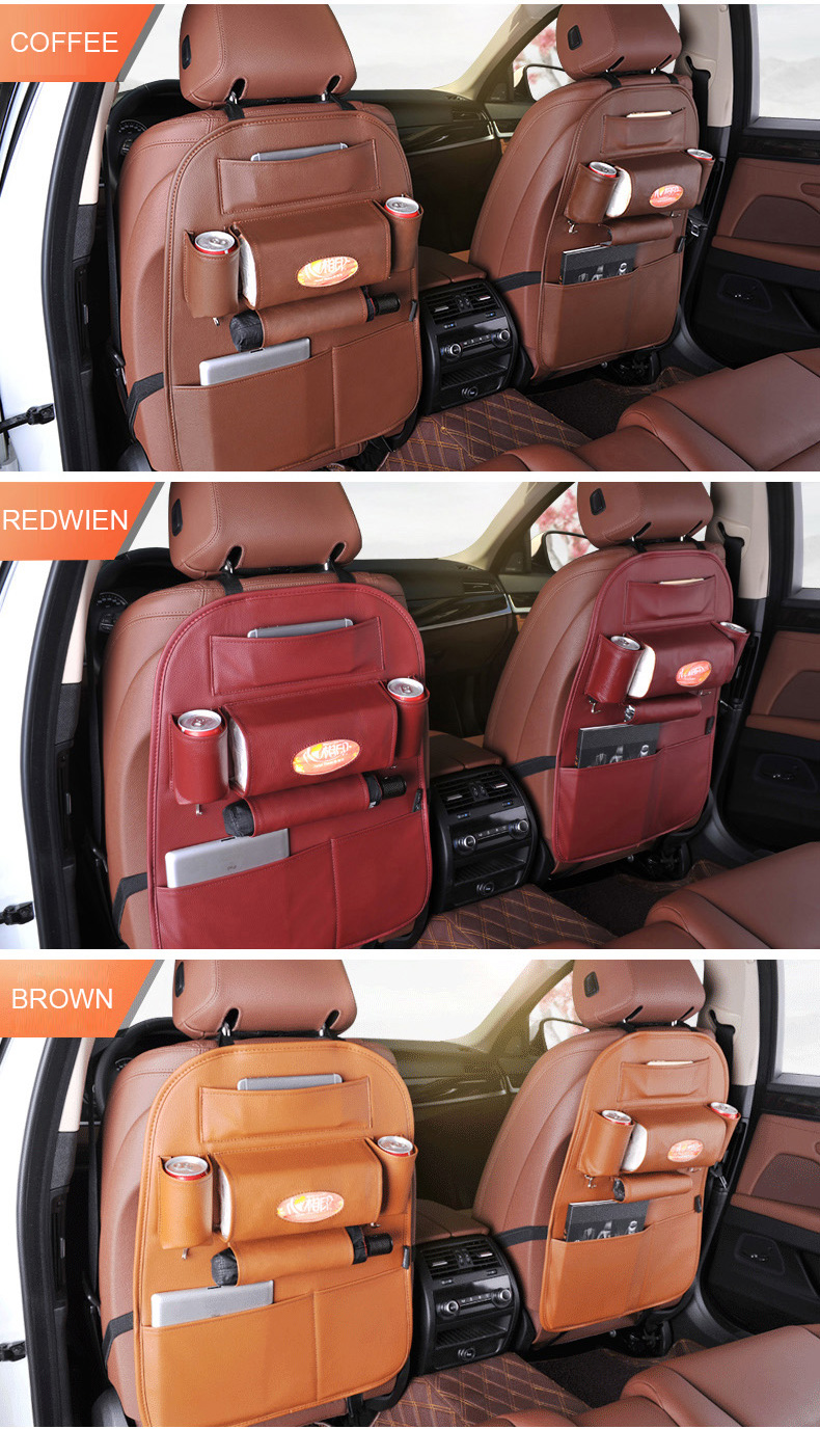Foldable car storage bag pu leather auto car seat back hanging car seat organizer