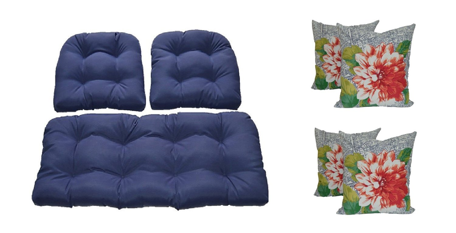 Buy Wicker Cushions And Pillows 7 Pc Set Solid Navy Blue Cushions