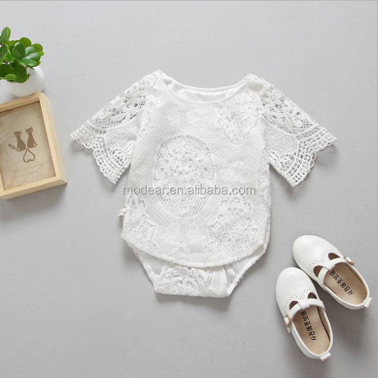 Wholesale Baby clothing Newborn short Sleeve girls lace Romper