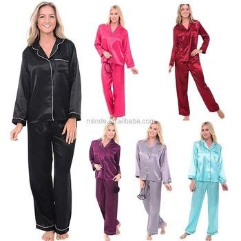 3707528ac4 Wholesale Plus Size Ladies classic Long sleeve button front top Satin  Pajamas Long Button-Down