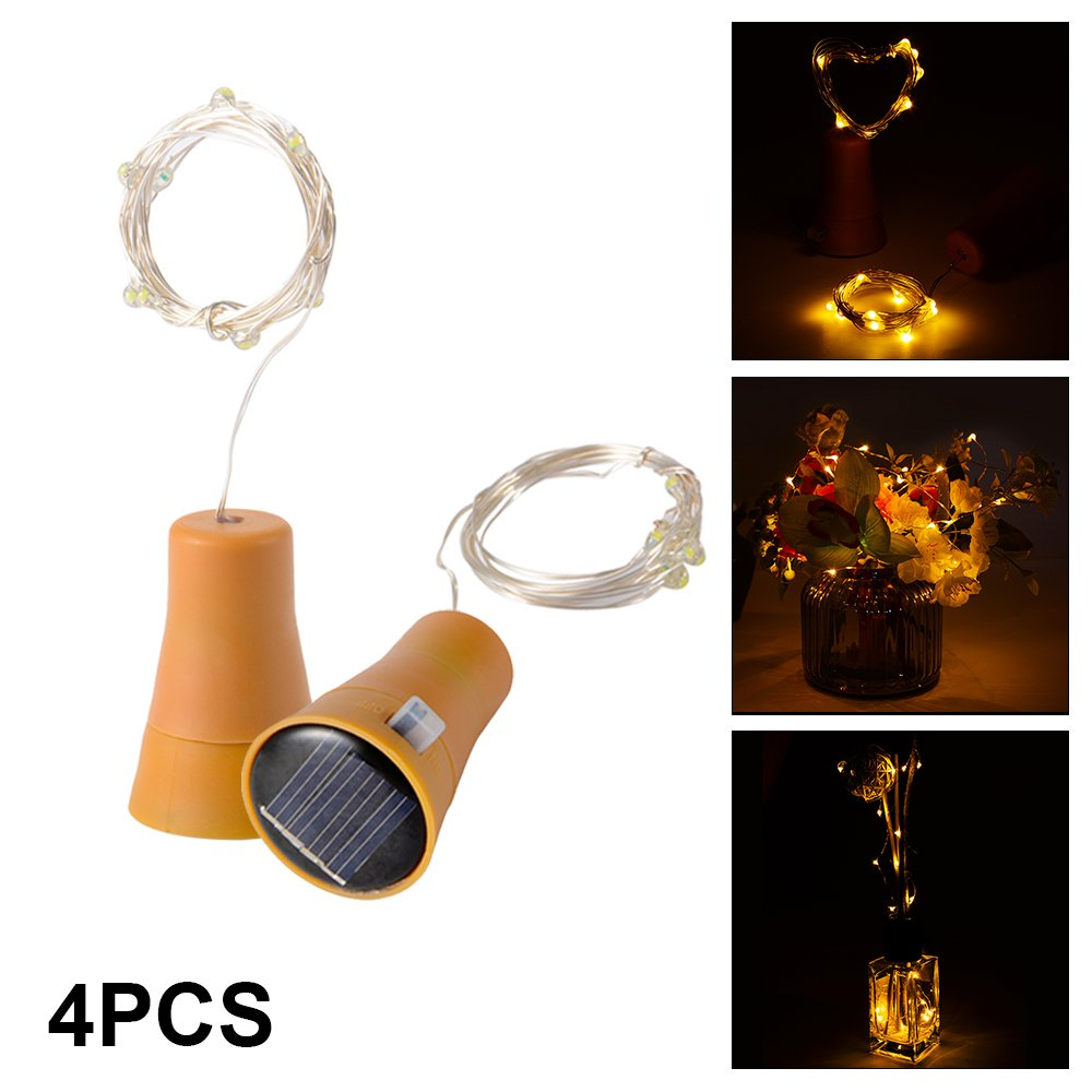 XCSOURCE 4pcs 10 LED Solar Powered Copper Wire Fairy String Light Wine Bottle Cork-shape Bar Lights for DIY Party Wedding Christmas Decor (Warm White) LD1027